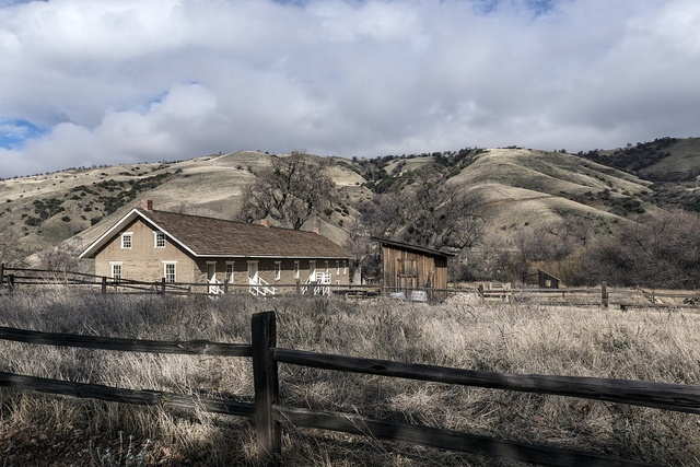 Scene, including a barracks building, from California's Fort Tejon State Park in Grapevine Canyon on the main route between California's central valley and Southern California