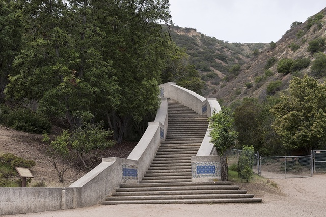 Stairway at the Wrigley Memorial on Santa Catalina Island, a rocky island off the coast of California