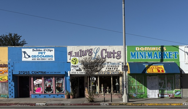 Storefronts on South Central Avenue in the Central Alameda neighborhood of Los Angeles, California