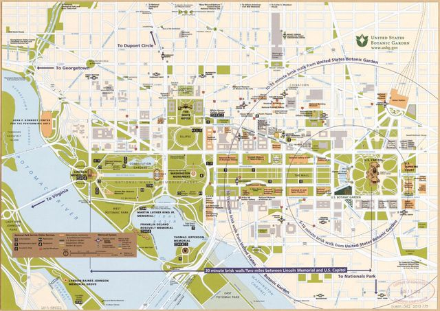 [Street map of central Washington D.C. showing parklands and all government buildings].