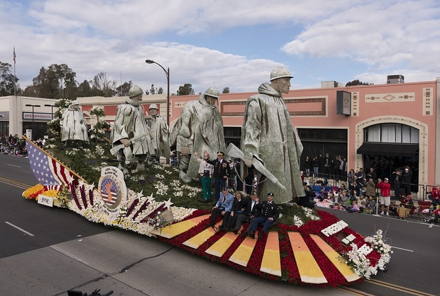 "The Department of Defense ""Freedom is Not Free"" float, commemorating the 60th anniversary of the Korean War, in the 124th Rose Parade in Pasadena, California"
