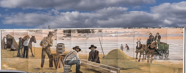 """The Great Lompoc Gold Rush,"" a ""mural in a day"" in Lompoc, California, depicting a nearby gold strike in 1889 and painted one day in 1998"