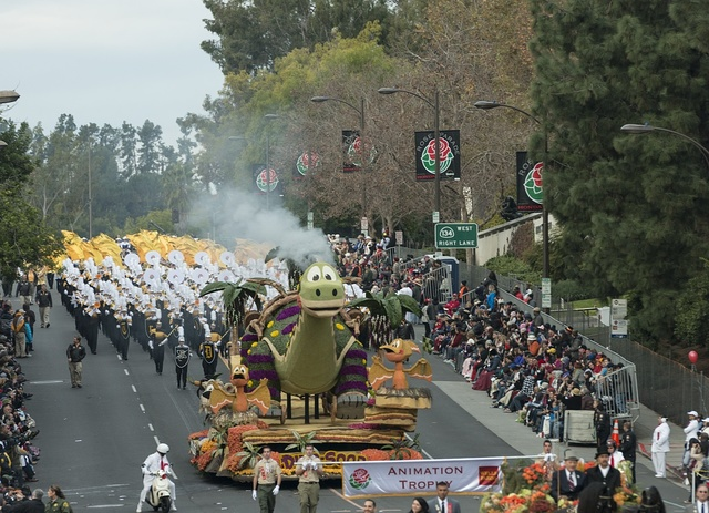"The La Canada Flintridge Tournament of Roses Association's ""Dino-Soar"" float in the 124th Rose Parade in Pasadena, California"
