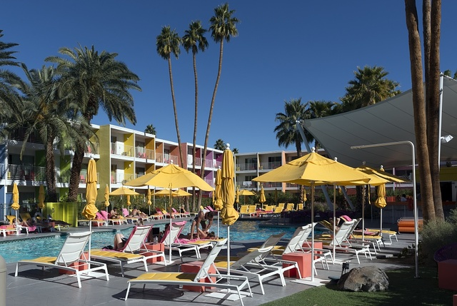 The pool at the colorful Saguaro Hotel in Palm Springs, California