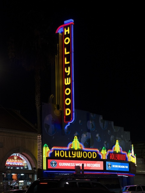 "The theater-like ""Hollywood"" sign and marquee surmount the Guinness World Records museum on Hollywood Boulevard in the Los Angeles neighborhood of the same name"