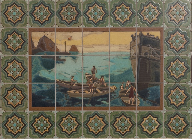 Tile work showing boats off Santa Catalina Island, a rocky island off the coast of California