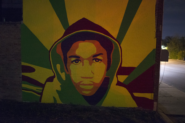 Trayvon Martin mural by Sean Marshall; inspired by Shepard Fairey's Obama poster, Hamilton at Tuxedo, 2013
