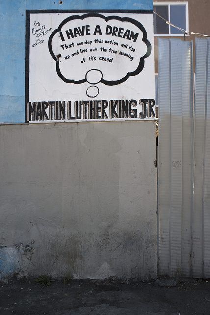 Vestige of MLK Jr. mural at South Park Liquors by Cornell McKennon, South Avalon Boulevard at 51st Street, Los Angeles, 2013
