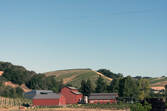 View of Dark Star Cellars/Midnight Winery from Route 46 in the Central Valley of California