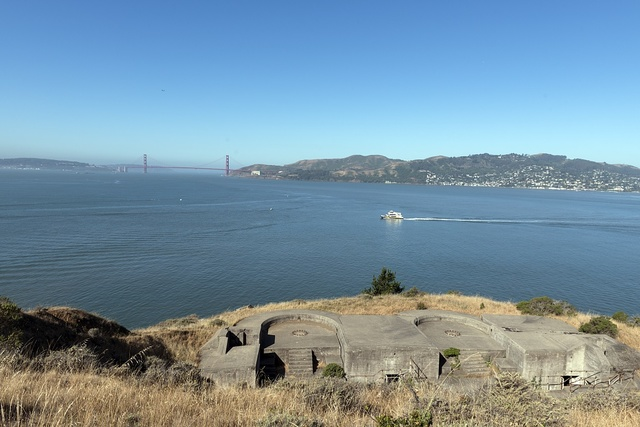 [View of Golden Gate Bridge and Marin County from Angel Island. California]