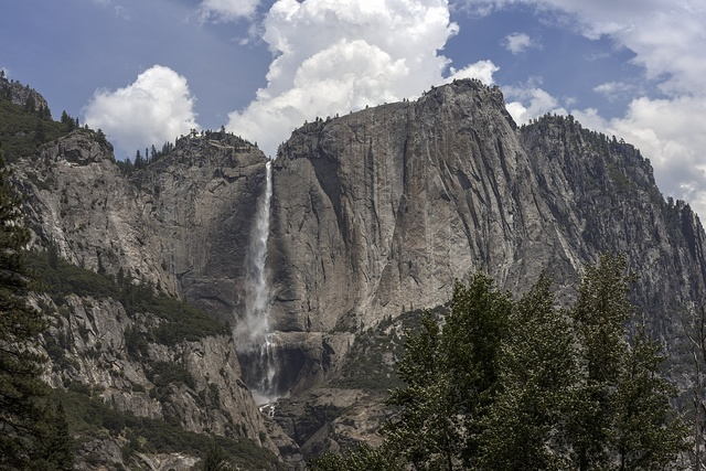 View of waterfall at Yosemite National Park spans eastern portions of Tuolumne, Mariposa and Madera counties in California