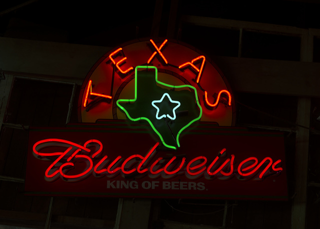 A beer sign in Texas that emphasizes the local nature of the national (now international) brewer's facility that turns out beer in the Lone Star State