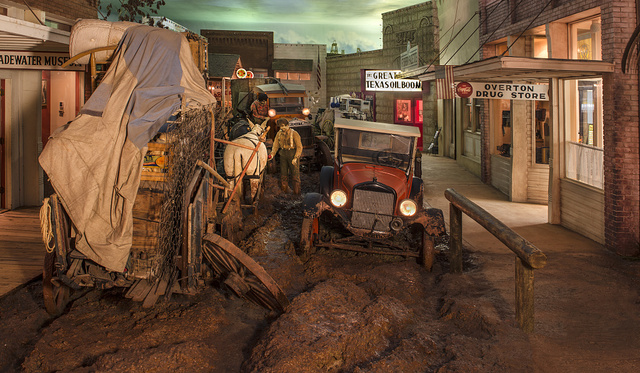 "A depiction at the East Texas Oil Museum, in Kilgore, Texas, of a muddy street in ""Boomtown U.S.A.,"" an amalgam view of Texas during the oil boom of the 1930s, when the largest oil field in U.S. history was discovered"