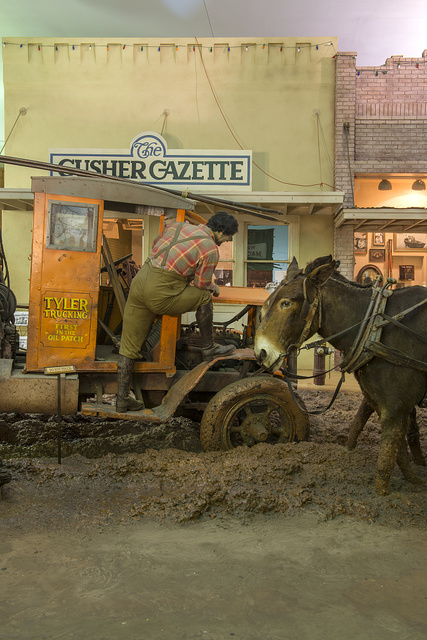 A depiction of a muddy Main Street at the East Texas Oil Museum, in Kilgore, Texas
