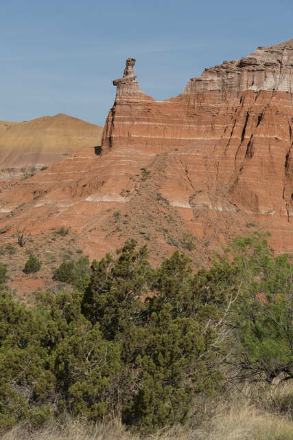 """A distinctive """"hoodoo"""" rock formation near Capitol Peak in Palo Duro Canyon State Park in Armstrong County in the Texas panhandle"""