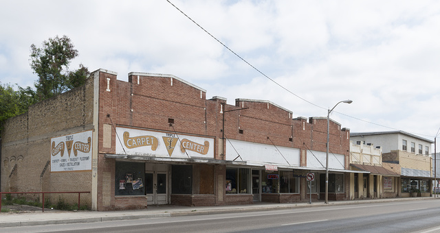 A downtown block, including a casket company, in Rio Grande City in Starr County, Texas