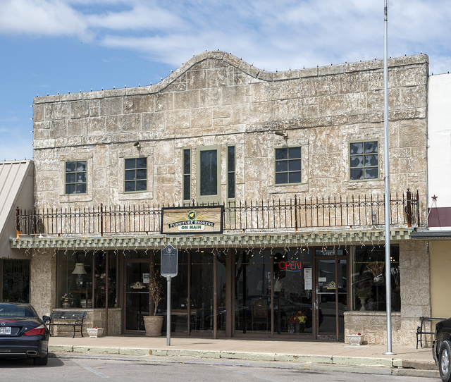 A furniture store on the site of an early-20th Century drug store in Marble Falls in the Texas Hill County