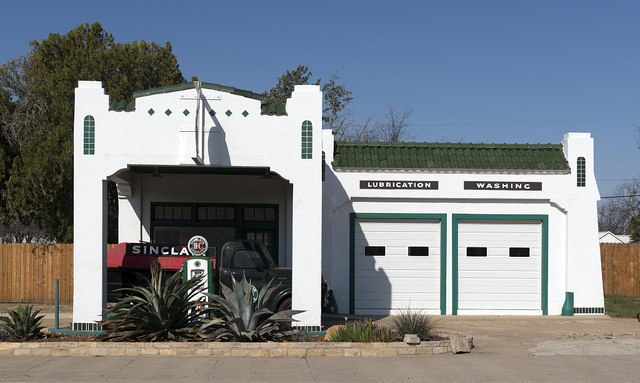 A meticulously restored Sinclair gasoline station in Albany, Texas, seat of Shackelford County