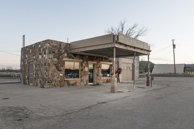 A onetime gas station and cafe, partially made of large stones in the West Texas vernacular, in the town of Gail, seat of Borden County, Texas