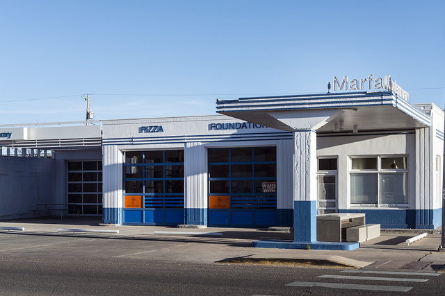 A onetime gas station, now an art gallery, in Marfa, a surprising city in Presidio County, Texas