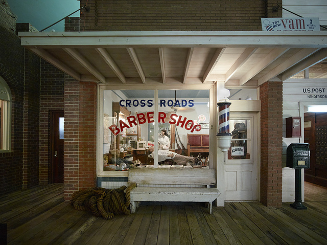 A peek through the window of the recreated barber shop at the East Texas Oil Museum on the campus of Kilgore College in Kilgore, Texas