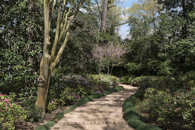 A pleasant garden path at the Bayou Bend Collection and Gardens in the River Oaks neighborhood of Houston, Texas