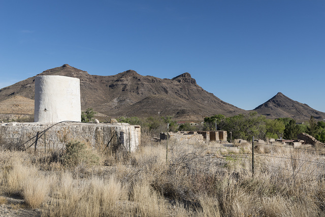 A portion of tiny Shafter, an unincorporated community in Presidio County, Texas, near the Rio Grande River