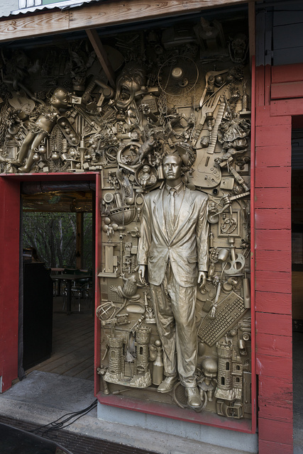 A remarkably detailed and ornate artistic relief considering its location: on the facade of a trailer-park eatery in the vibrant South Austin neighborhood below the Texas capital city