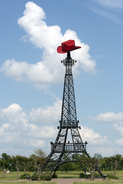 A replica Eiffel Tower with a Texas accent in Paris, Texas