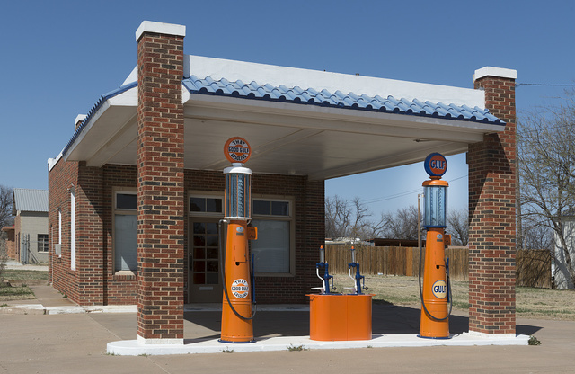 A restored Gulf gasoline station in Albany, Texas, seat of Shackelford County