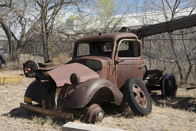A rusted old truck in Marfa, Texas