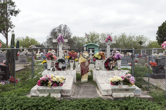 A small cemetery in Los Ebanos, a small settlement named for the ebony trees that once grew in profusion here along the Rio Grande River in Hidalgo County, Texas