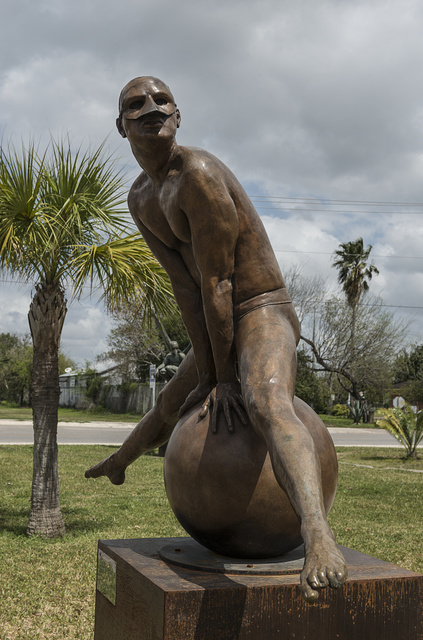 """A statue by Mexican artist Jorge Marin, part of his """"Wings of the City"""" exhibit outside the Brownsville, Texas, Museum of Fine Art"""