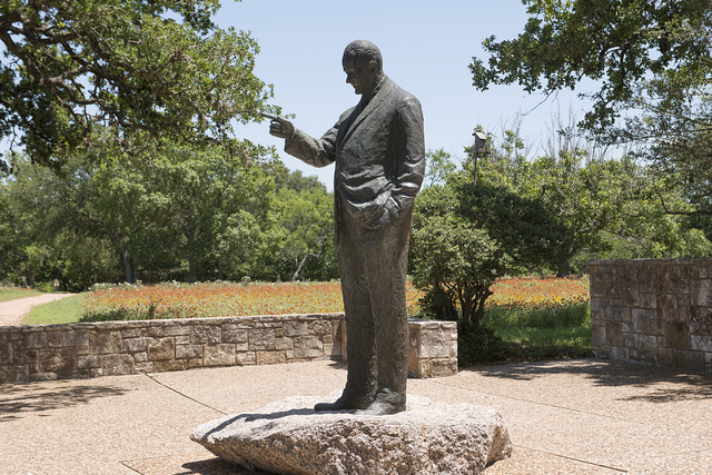 A statue of President Lyndon B. Johnson on the Texas State Parks' portion of the LBJ Ranch near Stonewall in the Texas Hill Country