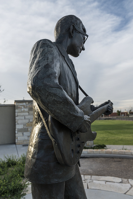 A statue of rock-'n'-roll legend Buddy Holly, the centerpiece of a walk of fame that honors other West Texas musicians in Holly's hometown of Lubbock, Texas