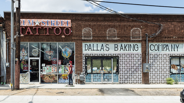 A storefront in Deep Ellum, a neighborhood composed largely of arts and entertainment venues near downtown in Old East Dallas, Texas
