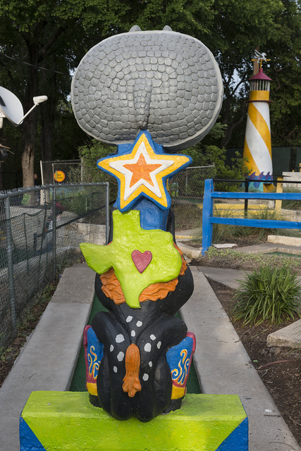 A Texas-sized obstacle at the Peter Pan miniature-golf course in Austin, Texas. We cannot confirm that it includes the rear portion of a Texas armadillo
