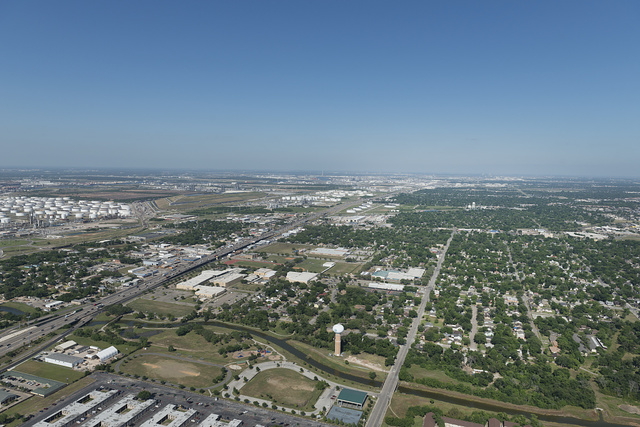 Aerial view in 2014 of sprawling Houston, Texas, in the midst of an energy boom
