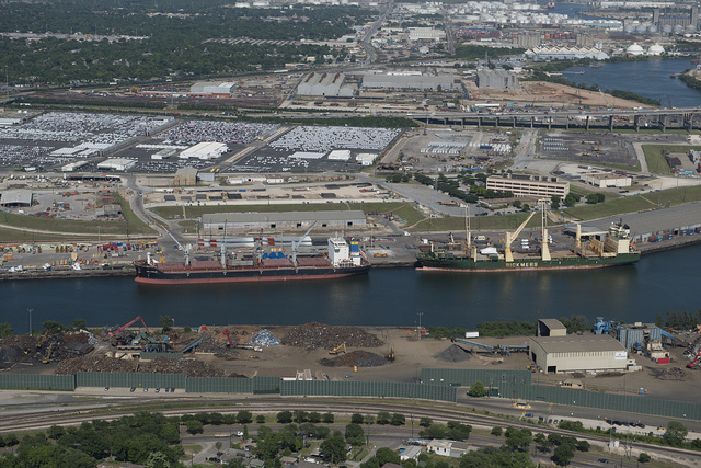 Aerial view in 2014 of the Houston Ship Channel and surrounding energy facilities in Houston, Texas