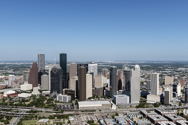Aerial views of the Houston, Texas, skyline in 2014