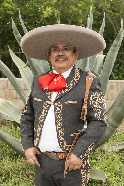 "Albert Duran, an Asociacion de Charros de San Antonio member attending a Mexican-style rodeo, or Charreria, at ""A Day in Old Mexico,"" part of the annual, month-long Fiesta celebration in San Antonio, Texas"