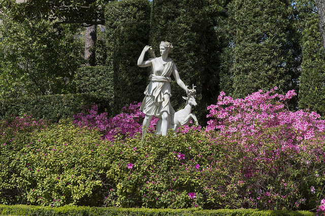 Along with a profusion of spring azaleas, a sculpture of Diana, goddess of wild animals and the hunt, is the feature of the Diana Garden at the Bayou Bend Collection and Gardens in the River Oaks neighborhood of Houston, Texas