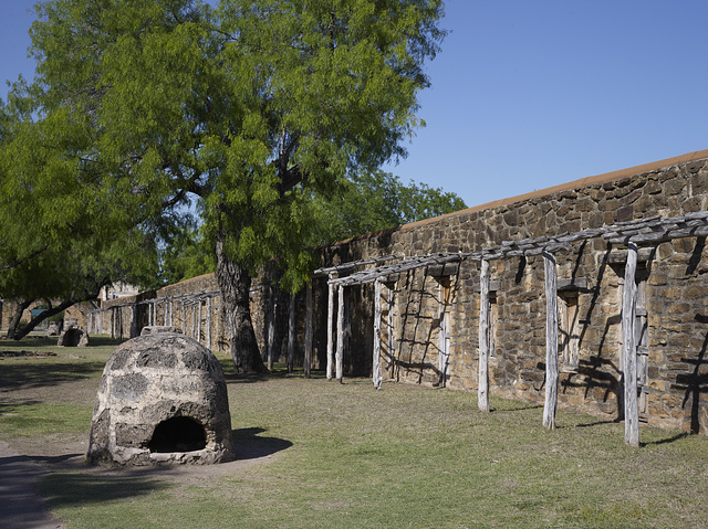 American Indians' quarters and a courtyard oven at Mission San Jose y San Miguel de Aguayo, a Spanish mission in San Antonio, Texas