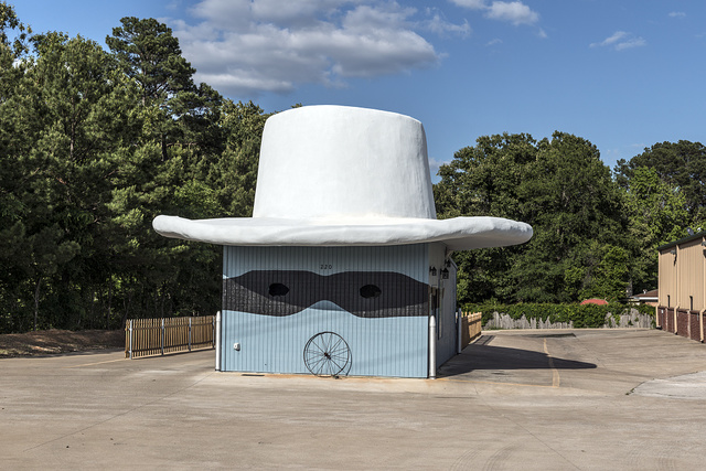 "An imaginative interpretation of the comics, radio, and TV character ""The Lone Ranger,"" adapted, hat, mask, and all, for a Kickerz Coffee drive-through store in Tyler, Texas"