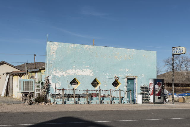 An old gift shop in Sierra Blanca, made a virtual ghost town when the interstate highway bypassed it in Hudspeth County, Texas