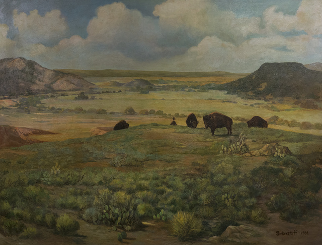 An untitled 1932 oil painting by George Sanderson Bickerstaff, displayed at the Buffalo Gap Historic Village in the unincorporated Taylor County, Texas, town of the same name, near Abilene