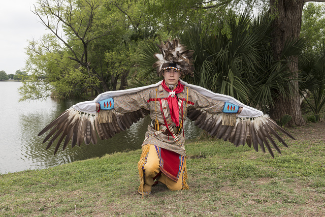 Andrew De Luna, a dancer at the Celebrations of Traditions Pow Wow, an official Native American Pow Wow that is part of the annual, month-long Fiesta San Antonio in Texas