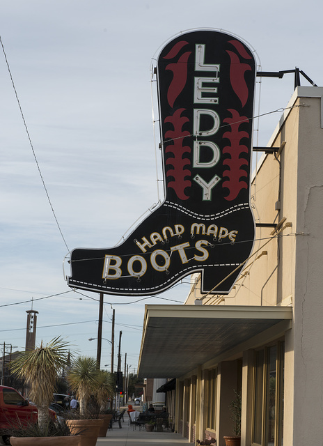 Appropriate advertising sign for Leddy's boot shop in the Stockyards District of Fort Worth, Texas
