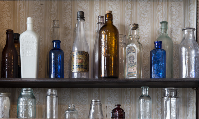Assorted bottles at the general store that is part of the Spindletop-Gladys City Boomtown park, a re-creation of portions of the oil boomtown of Gladys City, Texas. Beaumont, Texas