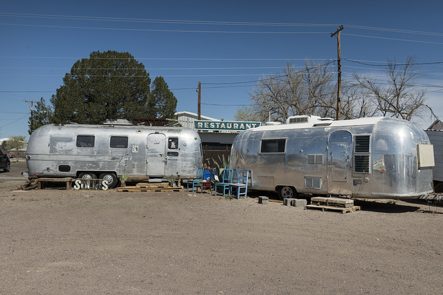 At first glance, this scene looks out of place in modernist Marfa, a community known for its art galleries and other art installations, in Presidio County, Texas. But upon close inspection it seems to be making an artistic statement of its own